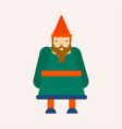 dwarf or gnome in cone hat fairy tale isolated vector image