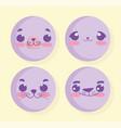 emojis kawaii cartoon animal faces set vector image vector image