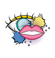 eye human and mouth pop art style vector image vector image