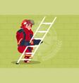 fireman climb ladder up in uniform and helmet vector image