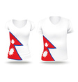 Flag shirt design of Nepal vector image vector image