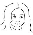 girl portrait black line vector image vector image