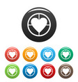 gunpoint heart icons set simple vector image
