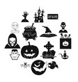 halloween black simple icons vector image vector image