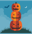 halloween pumpkin pyramid poster or card template vector image