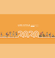 happy new year 2020 logo line text design vector image vector image