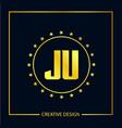 initial letter ju logo template design vector image