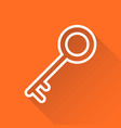 key icon in flat style isolated on orange vector image vector image