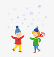 kids playing at winter under snow scene vector image vector image