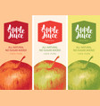 label for apple juice with apple and inscription vector image