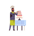 male professional chef pastry cook decorating vector image vector image