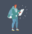 man with map with backpack in his hands on dark vector image vector image