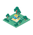 Mini tree and store building isometric