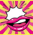 mouth woman pop art cartoon vector image vector image