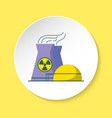 nuclear power plant icon in flat style on round vector image vector image