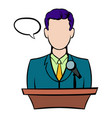 orator speaking from tribune icon icon cartoon vector image vector image