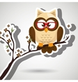 owl beige tree leaves beige vector image