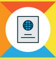 passport icon colored line symbol premium quality vector image vector image