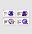 photographer shoot on photo camera landing page vector image vector image