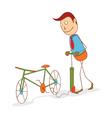 pumping a bike wheel vector image vector image