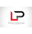 red and black lp l p letter logo design creative vector image vector image