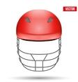 Red Cricket Helmet Front View vector image vector image