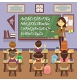 School lesson in classroom with child pupils and vector image vector image