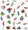 seamless pattern on mexico theme in doodle style vector image