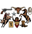 set cowboy objects vector image vector image