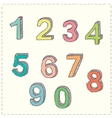 Set of hand drawn sketches numbers vector image