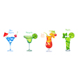 Set of Watercolor Cocktails Isolated on White vector image vector image