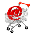 shopping cart with e mail vector image vector image