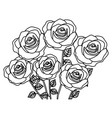 silhouette bouquet roses floral design vector image vector image