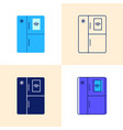 smart refrigerator icon set in flat and line vector image vector image