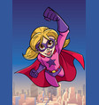 super girl flying sky background vector image