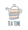 teat time kettle cartoon doodle stock icon in vector image