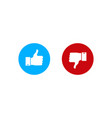 thumbs up or downlike and dislike in flat style vector image vector image