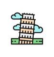 tower pisa italy landmark flat color vector image vector image