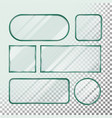 transparent glass button set square round vector image vector image