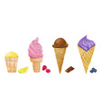 watercolor ice cream collection vector image vector image