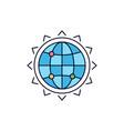 world globe seo business optimization flat color vector image vector image