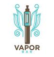 vapor bar logo design isolated on white vape e vector image