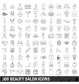 100 beauty salon icons set outline style vector image vector image
