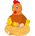 a chicken with many cracking eggs vector image