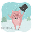 a cute pig is greeting new year and vector image vector image