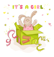 Baby Bunny in a Box - Baby Shower or Arrival Card vector image vector image