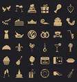 birthday banquet icons set simple style vector image vector image