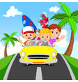 cartoon family vacation vector image vector image