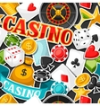 Casino gambling seamless pattern with game sticker vector image vector image