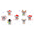 christmas and new year 2020 set seven cute vector image vector image